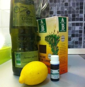 huile d'olive citron sucre
